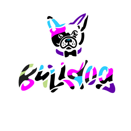 French bulldog in bow tie. Colorful hand drawn lettering and illustration of personage. Vector artwork in original graphic style isolated on white. Modern calligraphy. For logo, poster or card.