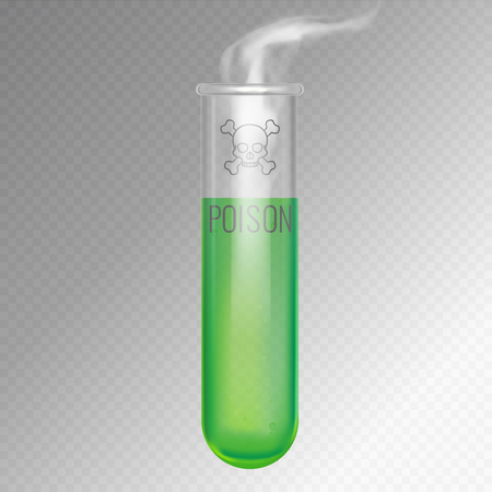 Test tube with steaming green liquid. 3d vector illustration of half transparent glass glassware with icon of skull and crossbones on it. Isolated editable objects.