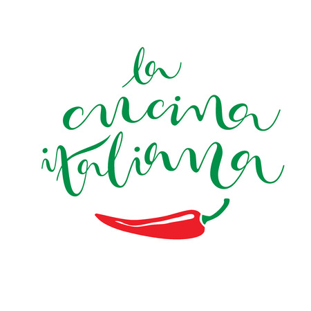 La cucina italiana (the italian cuisine). Hand drawn lettering with image of chili. Modern calligraphy artwork with a brush for logo or decoration in national italian colors: green and red.