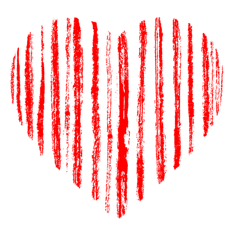 Red grunge hand drawn striped heart made of brush strokes. Distressed rough scarlet stripes.Symbol of love and valentine's day. Vector element for holiday design, isolated on white.