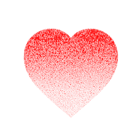 Red grunge distressed textured hand made made of paint with drops, dribble, sprinkle. Halftone from scarlet to light red. Symbol of love and valentine's day.