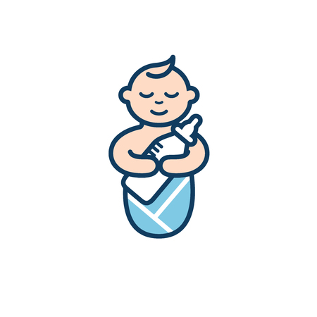 Baby with milk bottle in his arms. Geometric image of sleeping swaddled baby embracing the feeding bottle for icon. Cartoon style with outline Standard-Bild - 102230218