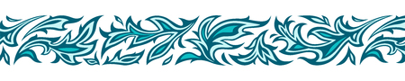 Floral border pattern of blue green turquoise leaves. Modern stylized muslim like ornament