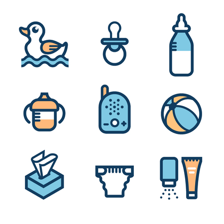 Baby accessories. Set of icons: non-spill cup with handles, feeding bottle, ball, rubber duck for bath, soother, baby monitor, cream tube, powder. Collection of symbols of babyhood and care