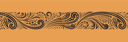 Vintage ornate seamless border pattern. Black vector ornament of curls and spirals on golden background Ilustrace