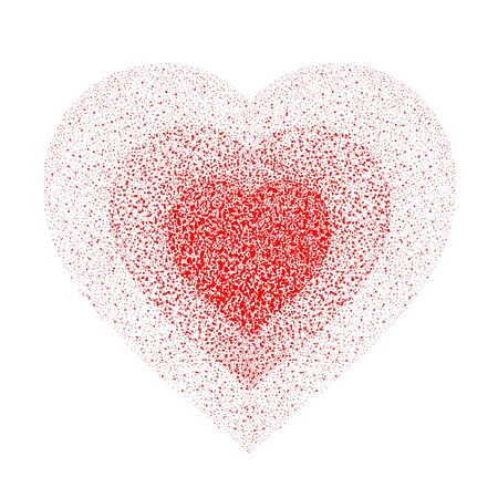 Red textured heart. Paint spray with drops, dribble, sprinkle. Halftone from scarlet in center to light red on edge. Vector editable element