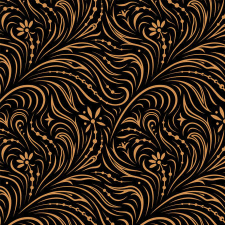 Seamless pattern. Russian traditional floral ornament in style of hohloma. Golden yellow on black. For fabric and decoration