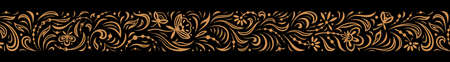 Vintage ornate seamless border pattern in russian traditional style. Golden openwork narrow ornament of leaves and flowers on black background Иллюстрация