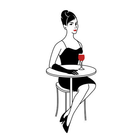 Elegant woman in cafe with glass of red wine. Italian girl in evening dress and gloves in style of sixties. Vector illustration. Retro fashion concept