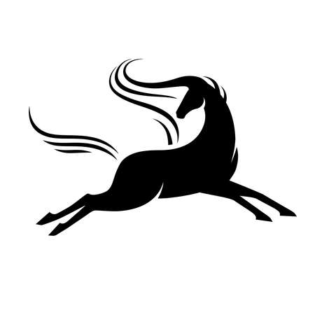 Horse running with head turned around. Black stylized silhouette of stallion in jump. For logo, emblem and heraldry.