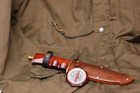 scouts: boy scouts compass and hunting knife