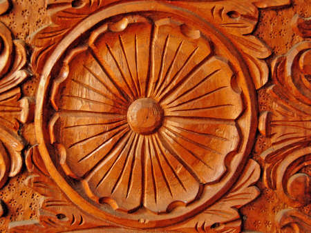 philippine hardwood with intricate wood carving photo