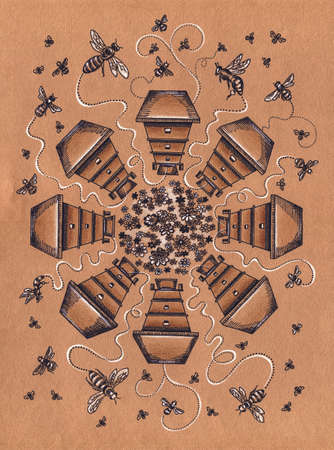 apiary: Apiary hives in a circle with bees flying around