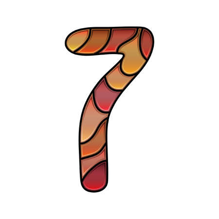 seven: stained glass font, number seven