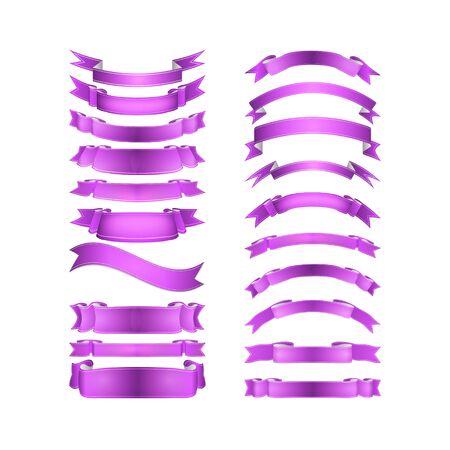 purple swirl: vector ribbons set