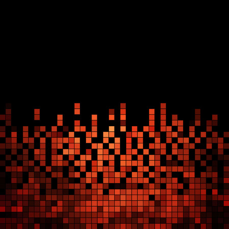 red black: abstract square pixel mosaic background Illustration