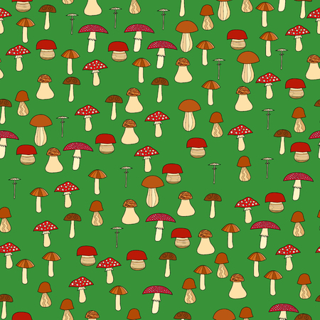 abstract doodle: abstract doodle mushroom seamless pattern Illustration