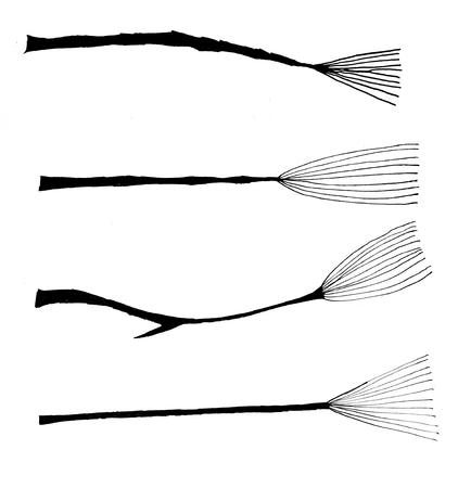 broomstick: abstract black ink broomstick set
