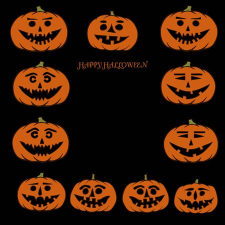 carving: hand drawn jack-o-lantern vector background