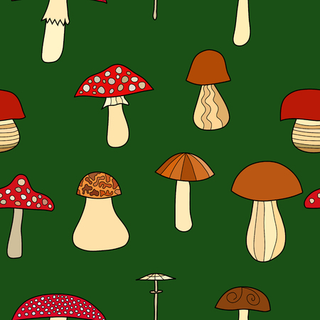 edible: abstract vector doodle mushroom seamless pattern