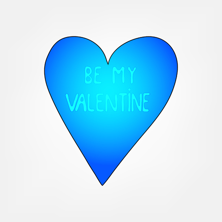 doodle text: doodle valentine greeting card - colored heart with doodle text be my valentine