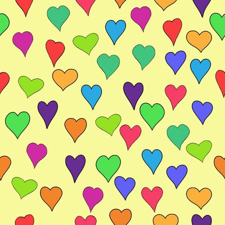 corazones azules: resumen de vectores de San Valentín de color transparente con corazones Doodle - rojo, naranja, amarillo, verde, azul, púrpura y violeta