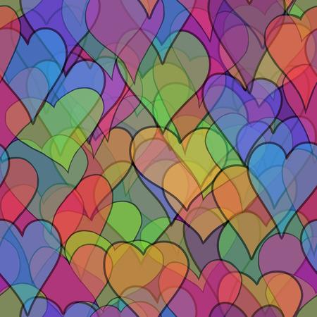 resumen de vectores de San Valentín de color transparente con corazones Doodle - rojo, naranja, amarillo, verde, azul, púrpura y violeta
