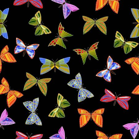 entomological: abstract vector colorful doodle butterflies seamless pattern Illustration
