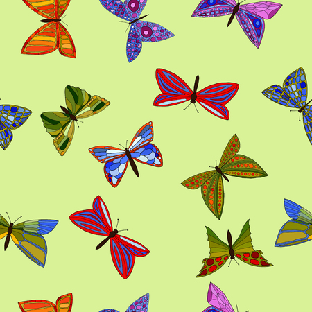 entomology: abstract vector colorful doodle butterflies seamless pattern Illustration