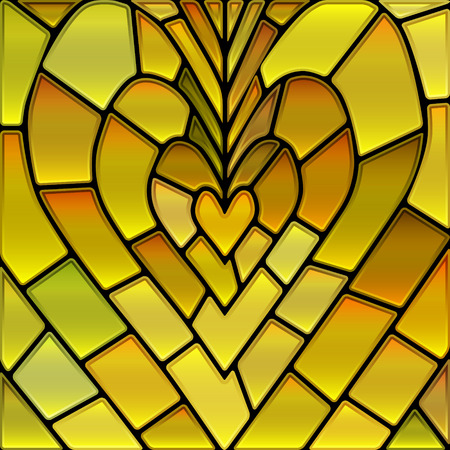 abstract vector stained-glass mosaic background - yellow heart Illustration