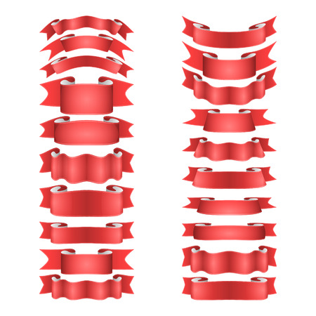satin: isolated vector colored satin ribbons set - red Illustration