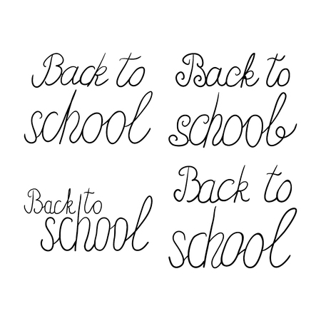 phrases: vector set of hand-drawn phrases back to school Illustration