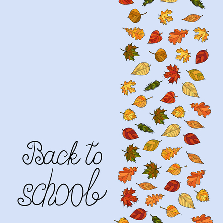 abstract vector doodle autumn leaves background - back to school Illustration