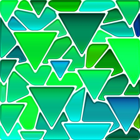 abstract vector stained-glass mosaic background - green and blue triangles