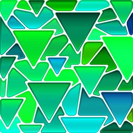 abstracte vector gebrandschilderd glas mozaïek achtergrond - groene en blauwe driehoeken