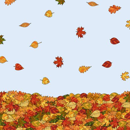 maple tree: abstract vector doodle falling autumn leaves background Illustration