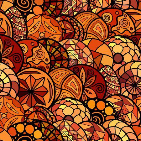 warm colors: vector dibujado a mano patrón transparente étnica en colores cálidos Vectores