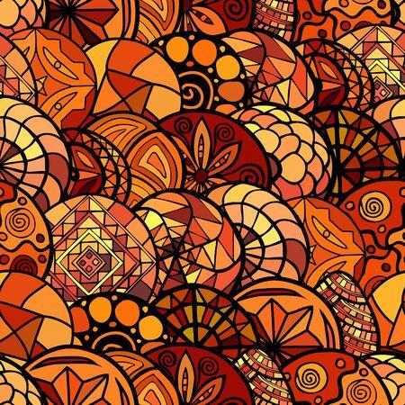 colores calidos: vector dibujado a mano patr�n transparente �tnica en colores c�lidos Vectores