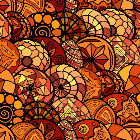 colores calidos: hand drawn vector ethnic seamless pattern in warm colors
