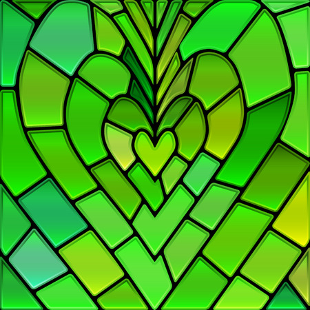 yellow heart: abstract vector stained-glass mosaic background - green and yellow heart Illustration