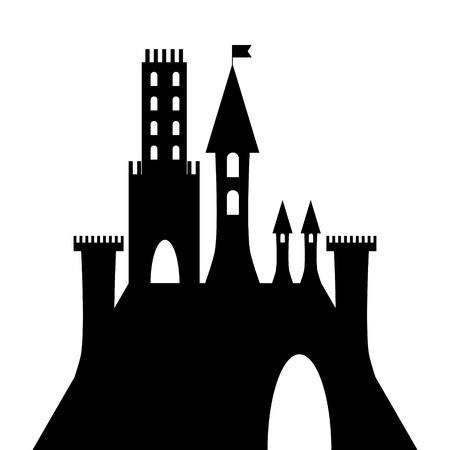 fortification: isolated vector ancient gothic castle black silhouette