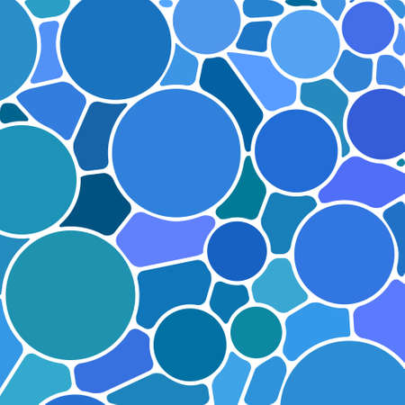 blue circles: abstract vector stained-glass mosaic background - blue circles Illustration