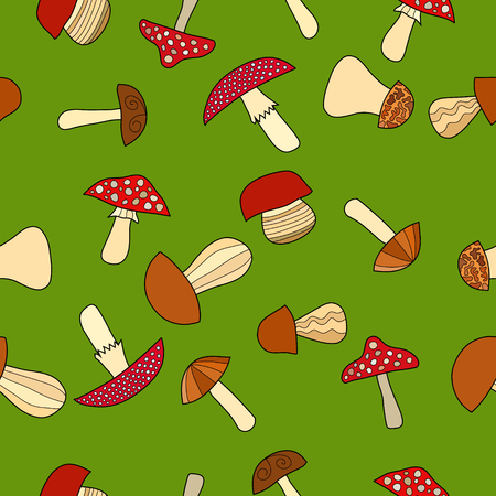 fungus: abstract vector doodle mushroom seamless pattern on green background