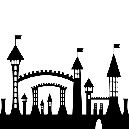 gothic castle: isolated vector ancient gothic castle black silhouette