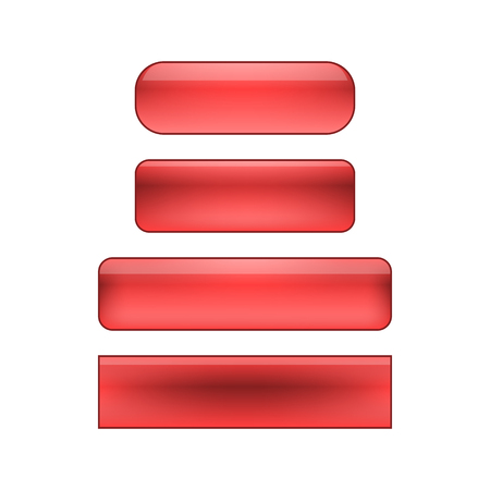 glance: vector isolated blank web buttons set - red