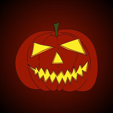 jack'o'lantern: hand drawn jack-o-lantern, shining in scary night