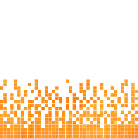 square abstract: abstract vector square pixel mosaic background - orange
