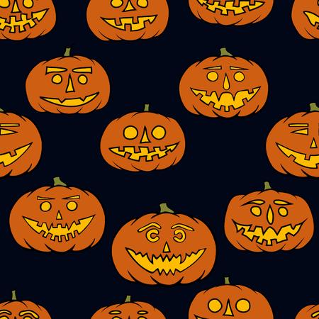 jack'o'lantern: hand drawn jack-o-lantern seamless pattern - halloween background Illustration