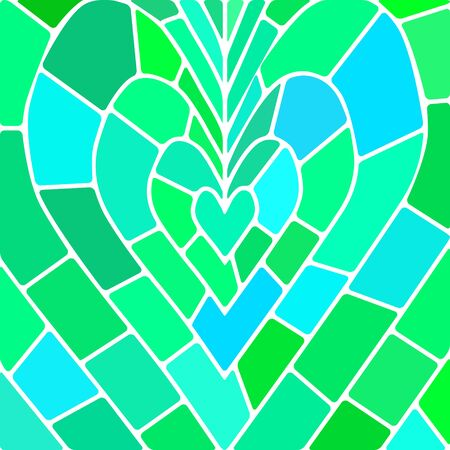 green heart: abstract vector stained-glass mosaic background - blue and green heart