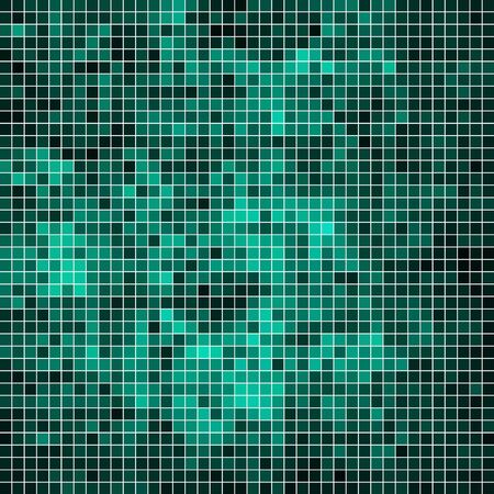 abstract vector square pixel mosaic background - teal Illustration